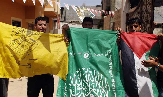Flags of political movements Fatah and Hamas