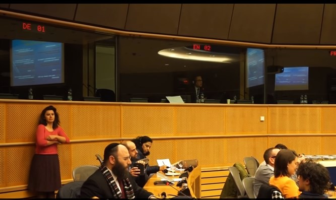Rabbi Margolin speaks at the pro-BDS meeting at the European Parliament