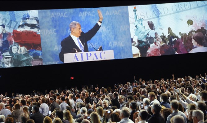 Netanyahu at AIPAC conference (file)