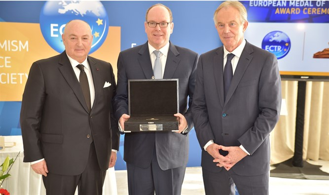 "Prince Albert of Monaco receiving the 2018 European Medal of Tolerance. (From left"" ECTR p"