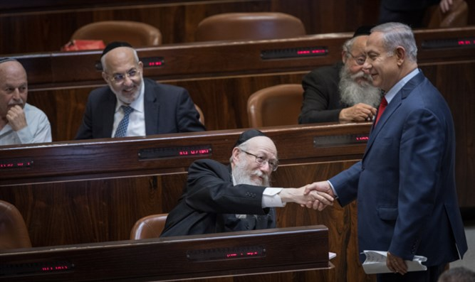 Binyamin Netanyahu and Yaakov Litzman ahead of Draft Law vote