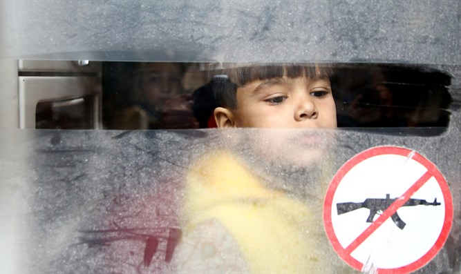 Boy looks out bus window during evacuation of Douma