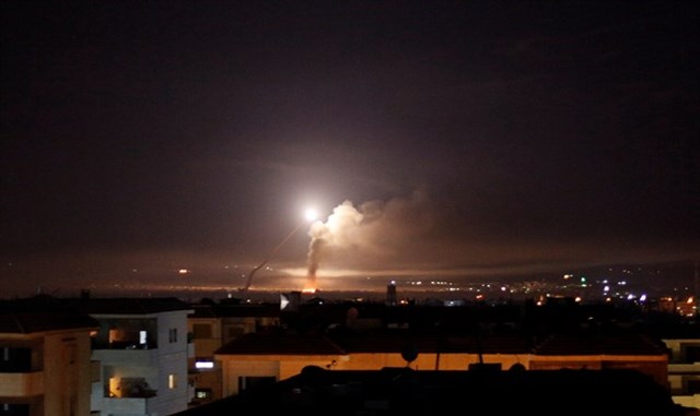 Missile fire in Damascus