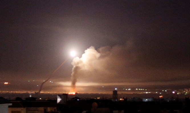 Missile explodes over Damascus, last night