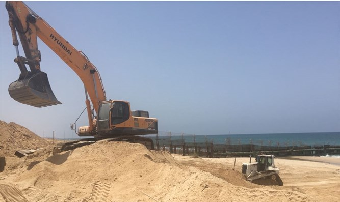 Construction work for coastal barrier