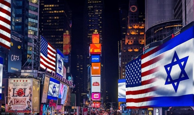 Israel, American flag in Times Square