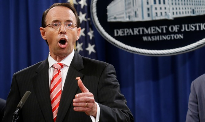 Rod Rosenstein announces jury indictments of 12 Russians