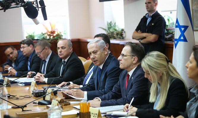 Netanyahu at today's cabinet meeting