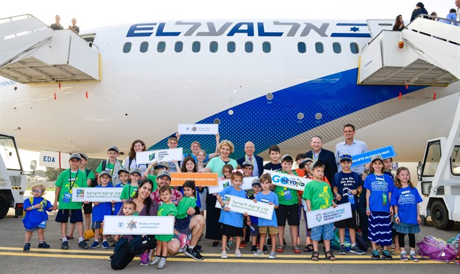 Children aboard Aliyah charter flight land in Ben Gurion and are greeted by Nefe