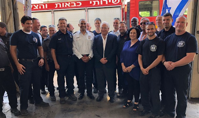 Ambassador Friedman with firefighters