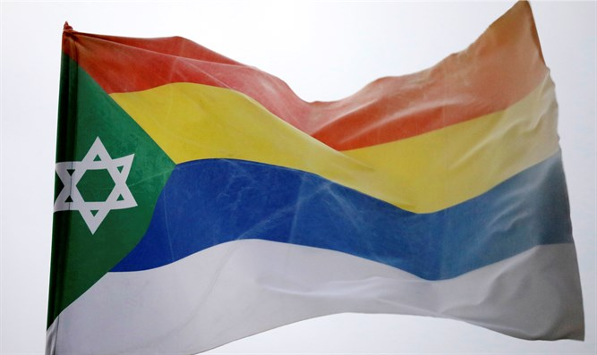 Druze flag decorated with Star of David seen in Daliat al-Karmel, Israel