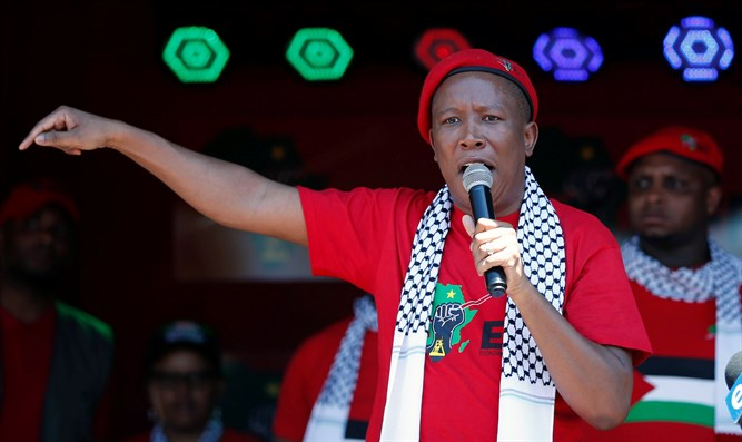 Julius Malema at demonstration outside of Israeli embassy in South Africa