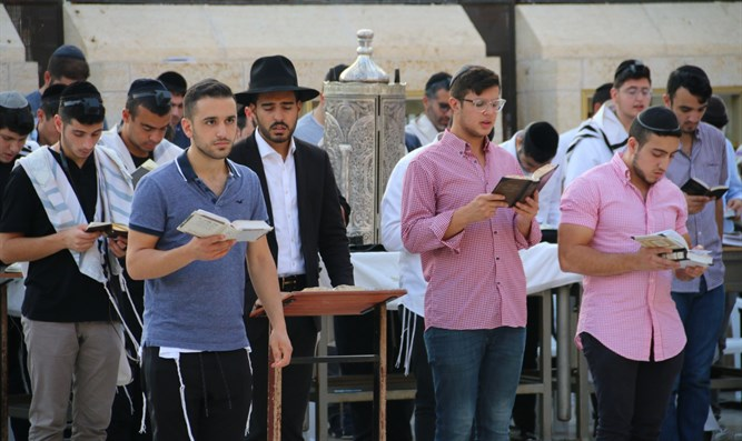 Worshipers today, at the Western Wall