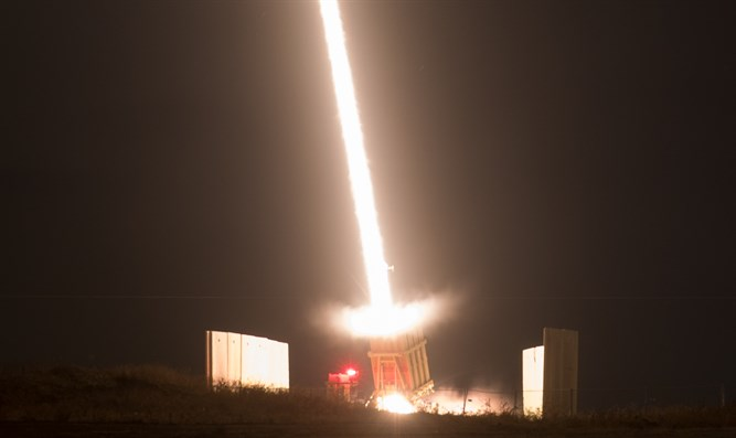Iron Dome Missile Defense battery in Sderot intercepts missile