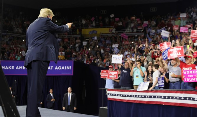 Trump addresses supporters during a Make America Great Again rally in Tennessee