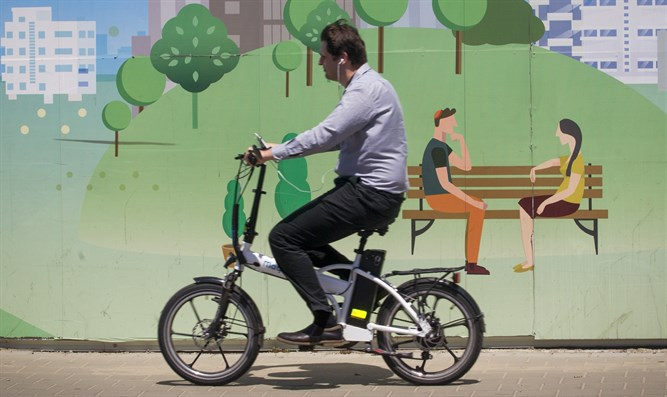 Man riding electric bike