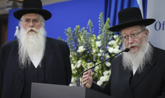 Deputy Health Minister Yakov Litzman and Deputy Education Minister Meir Porush