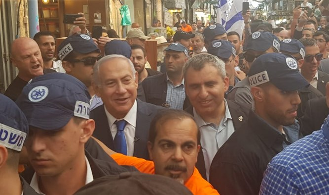 Elkin and Netanyahu in Machane Yehuda