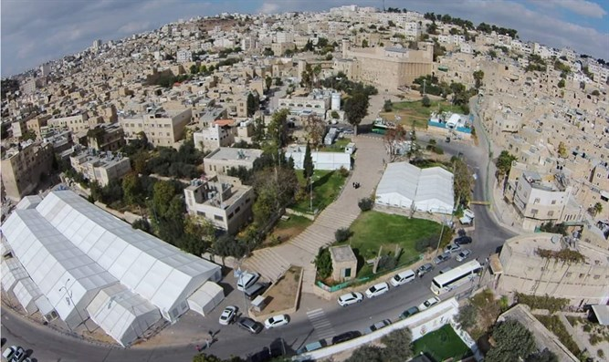 Massive tent erected to host the throngs in Hevron
