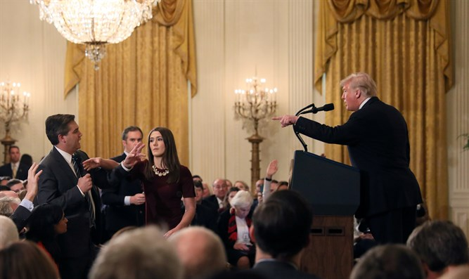 Jim Acosta during fiery exchange with Trump