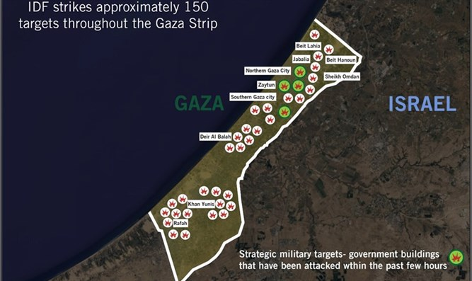 Map of IDF airstrikes