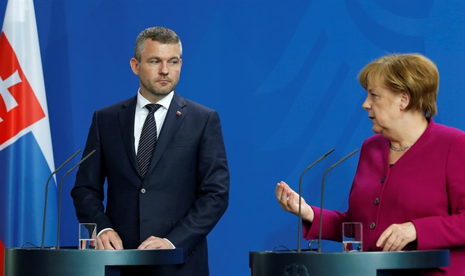 Slovak Prime Minister Peter Pellegrini and German Chancellor Angela Merkel