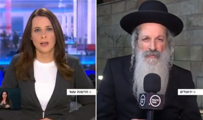 Rabbi Meirav talking to Channel 10