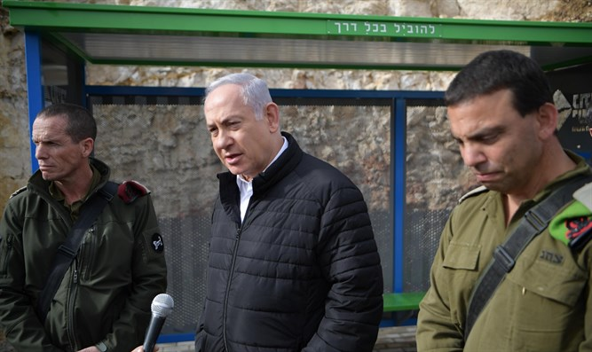 Netanyahu at attack scene in Givat Assaf