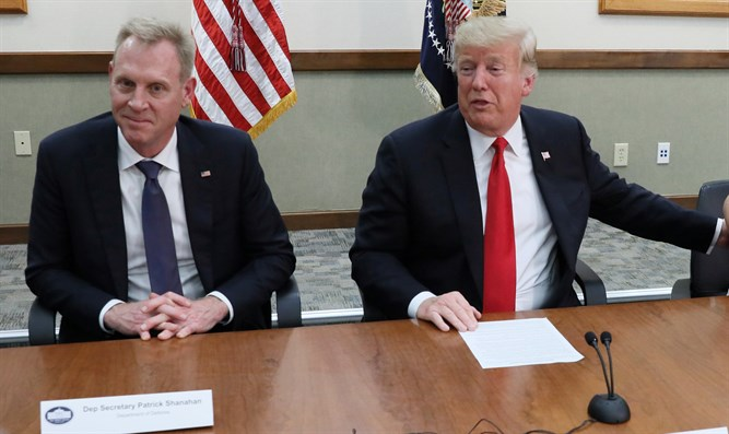 Patrick Shanahan (left) with Donald Trump at round table discussion