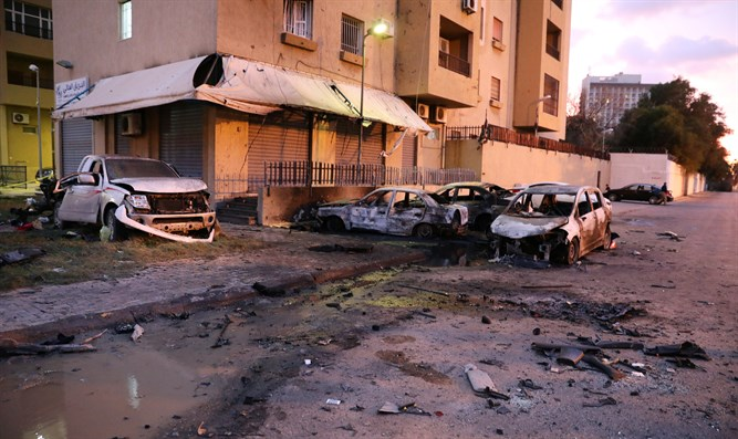 Scene of attack outside Libya's Foreign Ministry in Tripoli