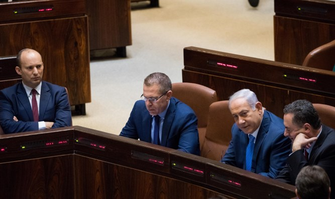 Left to right: Bennett, Gilad Erdan, Netanyahu, Yisrael Katz