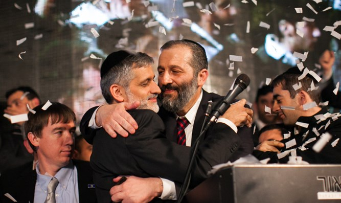 Aryeh Deri and Eli Yishai of Shas during happier days