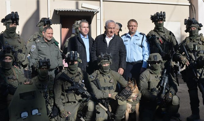 Netanyahu, Erdan at Yamam base