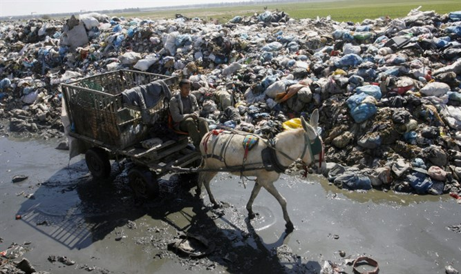 Man collects recyclables from Gaza garbage dump