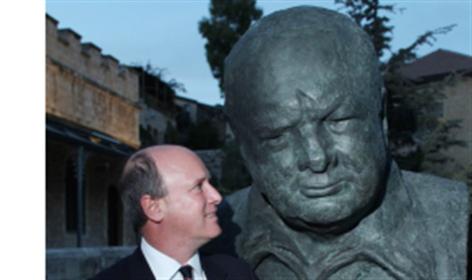 Churchill's grandson next to bust