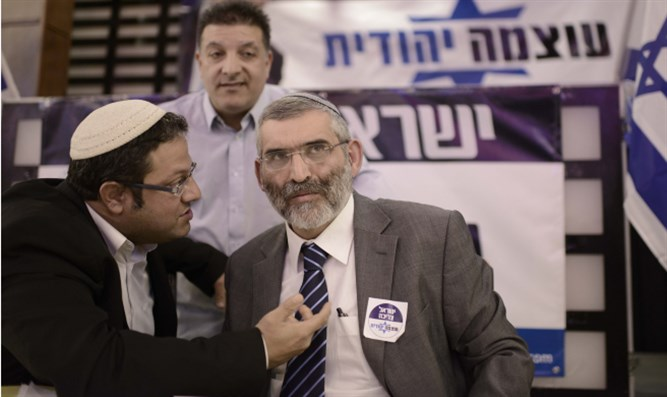 Otzma Yehudit candidates Itamar Ben Gvir (left) and Michael Ben Ari (right)