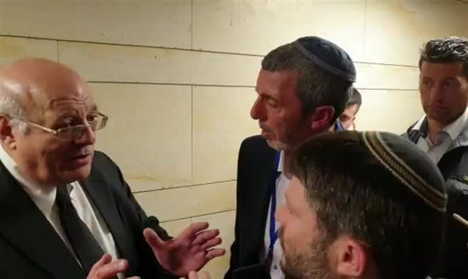 Rabbi Rafi Peretz and Bezalel Smotrich with Justice Hanan Melcer