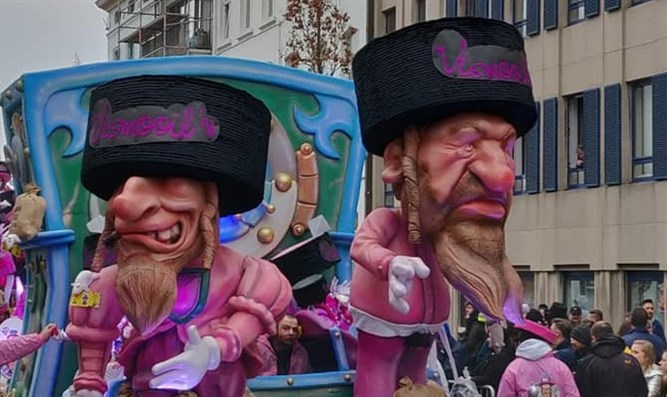 Puppets of Jews on display at the Aalst Carnaval in Belgium
