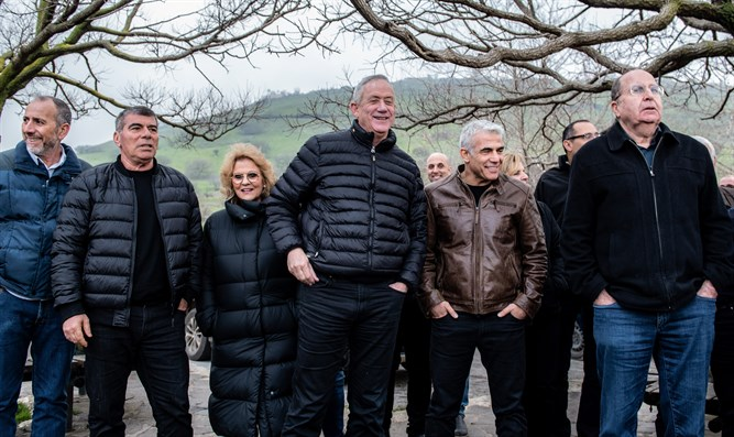 Moshe Ya'alon, Gabi Ashkenazi, Benny Gantz and Yair Lapid of Blue and White