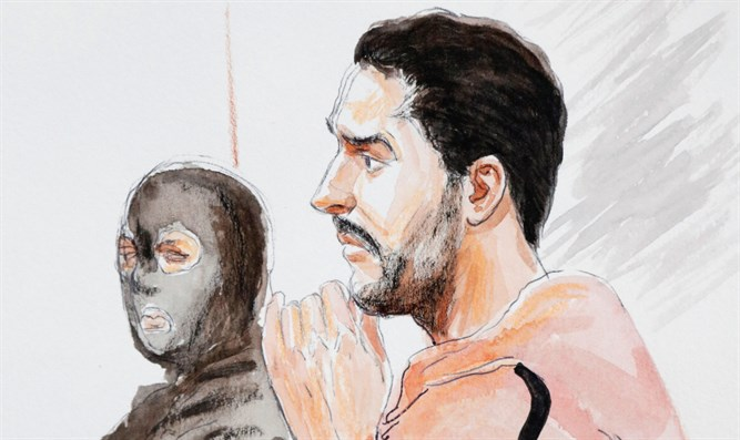 Court artist's drawing of Mehdi Nemmouche during his murder trial