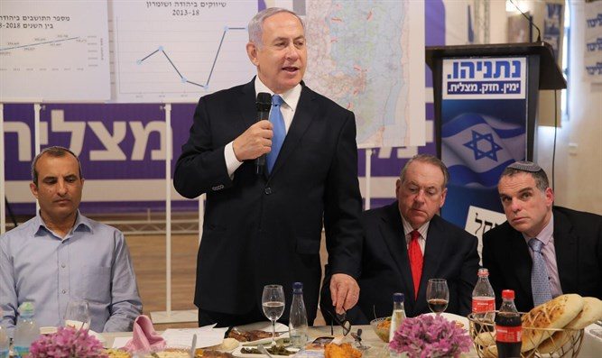 Netanyahu and Mike Huckabee in Shilo