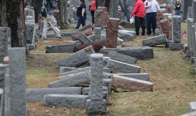 Toppled Jewish headstones (illustrative)