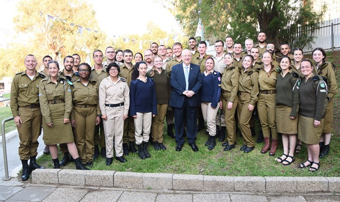 President Rivlin with the lone soldiers just before Passover