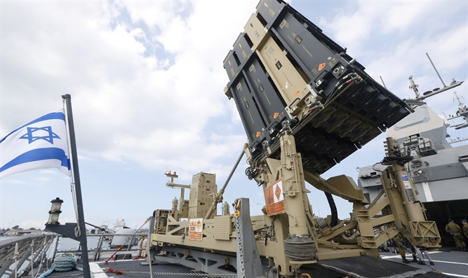 Iron Dome interceptor system mounted on Israeli missile boat