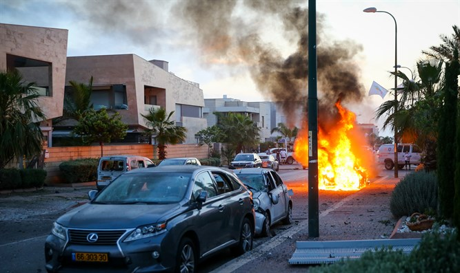 Ashdod car hit by Gaza rocket bursts into flames