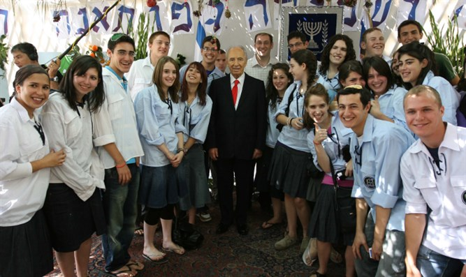 Shimon Peres, with Bnei Akiva Youth (Illustrative)