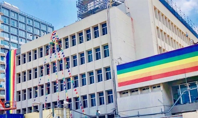 US Embassy branch office in Tel Aviv seen with pride color flags, June 13, 2019