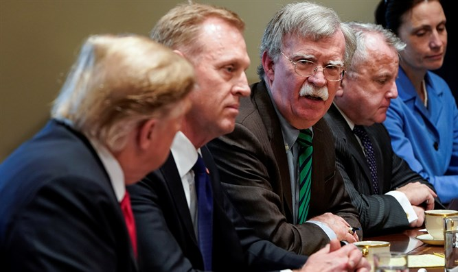 Secretary of Defense Patrick Shanahan flanked by Trump and John Bolton