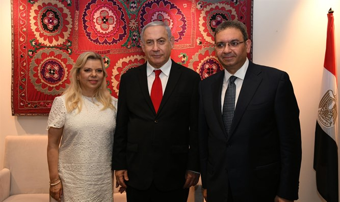 Netanyahu with the Egyptian Ambassador
