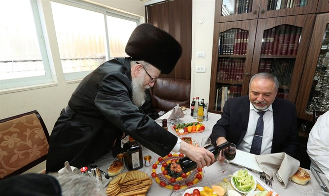 Liberman (right) with Litzman (left)